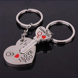 Wholesale Lover Couples - Free DHL Keychains Zinc Alloy Silver Plated Lovers Gift Couple Heart Keychain Fashion Keyring Key Creative Key Chain 4000PCS LA49-8