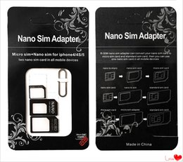мобильные телефоны стандартная сим-карта Скидка Nano SIM-карты для Micro SIM-карты стандартный адаптер конвертер извлечь Pin-код 4 в 1 для iPhone 4 4S Galaxy S4 S5 MQ50