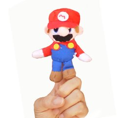 Wholesale Mario Puppets - Wholesale-2 pcs lot,Baby Plush Toy  Finger Puppets Tell Story Props(Super Mario) Animal Doll  Kids Toys  Children Gift