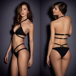 Wholesale Sexy Bathing Suit Criss Cross - 2015 Sexy Women Black Monokini High Quality Hot Cut Out Bathing Suit Criss Cross Solid Hollow Out Bandage Bikinis Set Swimsuit Swimwear