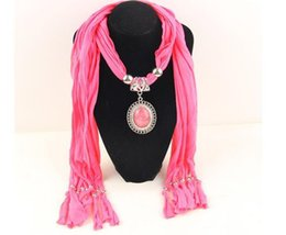Wholesale Western Scarves For Women - 2015 Pure Color Jewelry Scarves For Women Western Fashion Tassels Irregular Scarf Pendant Scarf Mix Colors