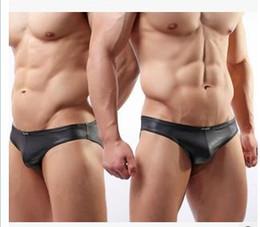 Wholesale Men Wholesale Bikini Swimwear - Brand Men Briefs Underwears China Sexy Gay Underwear Underpants Male Bodysuit Swimwear Faux Leather Swimming Trunks Bikini Panties