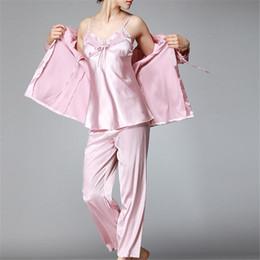 Wholesale Womens Satin Pajamas Xl - Women's Sleep Lounge Pajamas suit 2017 New Autumn Winter Elegant Womens Silk Satin 3 Piece Sleep Suit Pajama Sets Full Sleepwear Female