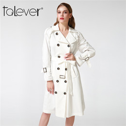 Белая черная женская траншея онлайн-Wholesale- Talever Autumn Winter Trench Coat for Women Adjustable Waist Slim Solid Black Coat White Long Trench Female Outerwear Plus Size