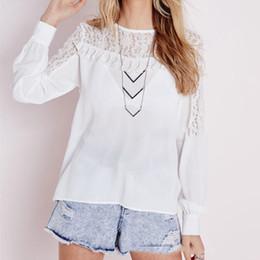 Wholesale Ladies Blouses Sale - Hot Sale 2016 Fashion Women Lace Crochet Chiffon Blouse Tops Sexy Ladies Casual Long Sleeve Tassel Shirts Blusas Plus Size