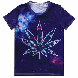 Wholesale Tee Shirt Triangle Galaxy - w1216 2015 mens swag Unisex 3d Triangle Leaf Galaxy colorful Clouds t shirt women tee tops tshirt t-shirt t shirts men casual-shirt