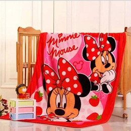 Wholesale Red Bedding Sheets - Wholesale-Minnie Mouse Blanket For Baby \Child \Kids Red Color Cartoon Style Coral Fleece Bed Sheet 100x140CM Free Shipping