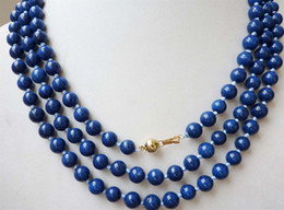 "Wholesale Egyptian Lazuli Lapis - 8mm Egyptian Lapis Lazuli Dark Blue Round Bead Gemstones necklace 54"" 14K AAA+"