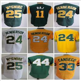 Wholesale Henderson Baseball - 2017 Men's Cool Base Jersey #24 Ricky Henderson 33 Jose Canseco 25 Mark McGwire 100% Stitched Jerseys