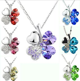 Wholesale Petal Flower Necklace - Fashipon Jewelry Necklaces Silver Tone Chain Rhinestone Crystal Heart Rhinestone Colover Petal Flower Pendant Necklace 24pcs