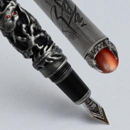 Wholesale Pen King - DRAGON KING PLAY PEARL BLACK BARREL ANTIQUE SIER DRAGON EMBOSS FINE 18KGP NIB FOUNTAIN PEN 3 COLORS FOR CHOICE OFFICE