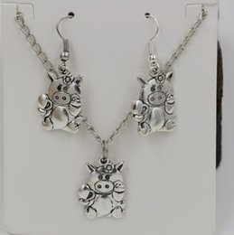 Wholesale Antique Pig - Hot ! Jewelry Set , Antique silver * CUTE PIG PIGGY FLOWER * Gift Set Necklace Earrings Jewelry Set (ab700)