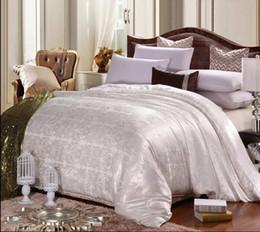 Wholesale Crib Comforter Cover - Wholesale- Jacquard Cover 100% Natural Mulberry silk comforter blanket quilt duvet for summer winter king queen handmade bedding 4 color