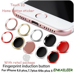 Wholesale Aluminum Home Button - Touch ID Metal Aluminum alloy Home Button round protector Sticker Case For iPhone 8 plus 5 5S 6 plus 6s 7 plus