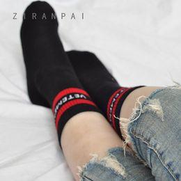 Wholesale Hip Hop Style Girl - Gilrs Vetements Knee High Socks Tide Brand Teenager Student Hip Hop Style Long Socks Letter Embroidery Athletes Leg Warmers Stripe Socks