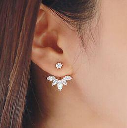 Wholesale Wholesale Earring Jacket - Fashion Flower Earring Big Crystal Ear Jackets Jewelry High Quality Leaf Ear Clips Stud Earrings For Women White Rhinestone
