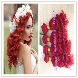 Wholesale Sexy Hair Extensions - Hot Sexy Red Queen Peruvian Hair Wholesale Unprocessed Virgin Human Hair Weft Remy Deep wave Hair Weave Extensions 3 Bundles Free Shipping