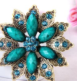 Wholesale Cheap Turquoise Flowers - cheap Vintage Jewelry resin Flower Shape Brooches pins for women Free Shipping