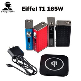 Wholesale Box Eiffel - Authentic Esige Eiffel T1 165W Box Mod Temperature Control VW Mode Wireless Charging 4000mah 75A Long Term Discharge Silver Black Red Blue