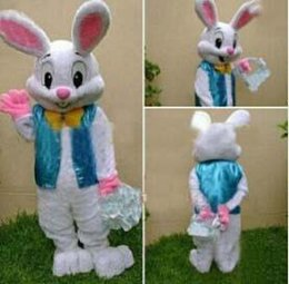 Wholesale White Easter Bunny Costume - 2015 sell like hot cakes PROFESSIONAL EASTER BUNNY MASCOT COSTUME Rabbit Hare Adult