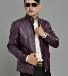 Wholesale champagne leather jacket - Fall-Purple autumn stand collar new design PU leather jacket fashion casual mens faux leather jackets and coats big size M XL 3XL 4XL