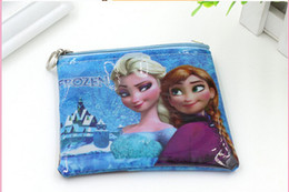 Wholesale Wholesale Shell Buttons - Girls 3D Cartoon Frozen Coin Purse with iron button Anna Elsa Olaf shell bag wallet Purses children Gifts free shipping 50pcs lot