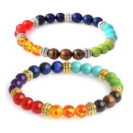 Wholesale African Traditional Beads Jewelry - 7 Chakra Bracelets Healing Reiki Prayer Natural Stone Bead Balance Yoga Bracelets Inspirational Jewelry for Women Men Gift Drop Shipping