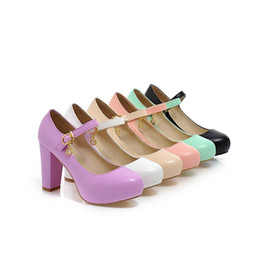 Wholesale Pink Mary Janes - Girls High Block Heel Mary Janes Round Toe Court Pump Sweet Candy Shoes 6 Color