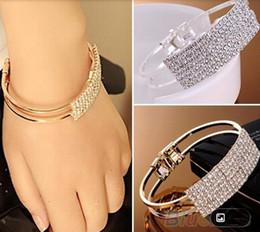 Wholesale Korean Jewellery Wholesalers - New Fashion Elegant Women Bangle Wristband Bracelet Crystal Cuff Bling Lady Gift Girls Wedding Korean Jewellery 2 Colors ZJ16-b01