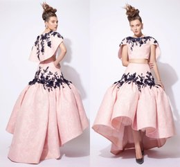 Wholesale Lace Embroidery Jackets - Modest Prom Dresses 2016 Cap Sleeves Jacket Embroidery Lace Two Pieces Dresses Evening Wear Puffy High Low Formal Party Evening Gowns