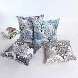 Wholesale 18x18 Pillow Cases - Fashion Firework Pattern Bamboo Linen Fabric Throw Pillow Case Silver Flower Cushions Car Sofa Pillow Covers 18x18''(45*45cm)