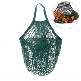Wholesale Recycled Cotton - Reusable String Shopping Grocery Bag Shopper Tote Mesh Net Woven Cotton Bag(Green)