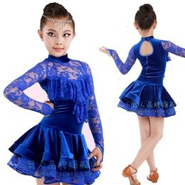 Wholesale Girls Lace Rosette Dress - Latin Dance Dress For Girls Lace Top&Skirt Dance Wear Vestido De Baile Latino Kids Dance Costumes Practice Competition Dresses DQ4042