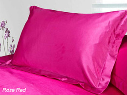 Wholesale Satin Pillowcases Wholesale - Wholesale- Pillow Case Satin silk pillow cases colors pillow cover red green purple silver pink black 48*74cm envelop pillowcases hot sale