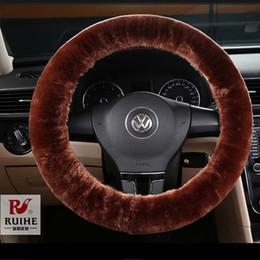 Wholesale Steering Wheel Cover Soft Leather - Car-covers Steering-wheel Sheep fur Steering Wheel Cover Genuine Leather Steering Wheel Cover soft Classical black gray cream