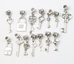 Wholesale Dangle Heart Charms Fit Bracelet - 140pcs lot 14Styles Love Key Locket Dangle Charm Metal Big Hole Beads Dangle Fit European Bracelet Jewelry DIY