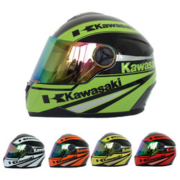 Wholesale Motorbike Full Face Helmets - 4 Colors Kawasaki Brand Motorcycle Full Face Helmet Men women Motorbike Racing Helmets Capacete Casco DOT Approved