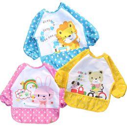 Wholesale Waterproof Apron Bibs For Babies - Free Shipping 1 Piece New Cute Cartoon Children Baby Waterproof Long Sleeve Bib Apron For Baby Self Feeding