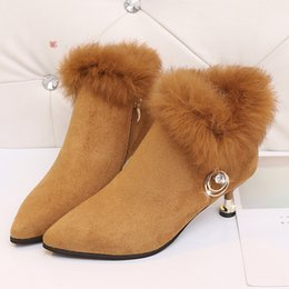 Wholesale Sex Boots Fashion - Wholesale-Fashion 6cm Women Sex High Heel Boots Suede And Pu Leather Artificial Fur Women's Ankle Boots Platform Winter Shoes Woman