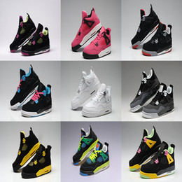 Wholesale Women Military Boots - 2018 men 4 Basketball Shoes Fire Red White Cement CAVS Military Blue Cement Grey Black Cat Pure Mars Thunder Trainers Boots Sneakers
