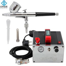 Wholesale Dual Action Airbrushes - OPHIR Pro Airbrush Compressor Gravity Dual Action Airbrush Kit with Mini Air Compressor Cake Decoration Makeup Set_AC091+AC004