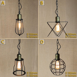 Wholesale Small Led Ceiling Light Fixtures - Vintage Small iron cages Pendant lighting Ceiling Lamp American rural industry Pendant lights Restaurant Kitchen Lighting Fixture