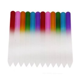 """Wholesale Crystal Buffer - 50X 3.5""""  9CM Glass Nail Files with plastic sleeve Durable Crystal File Nail Buffer Nail Care Colorful"""