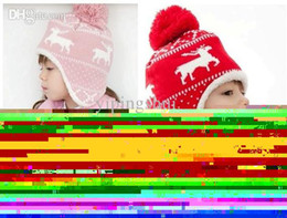 Wholesale Baby Snow Gloves - Wholesale-(1Set =1 Cap+ 1 Scarf ) Child winter Cap scarf set Kids Snow Pattern knitted Cap with Earflap Warm hat For 1-5 Years baby H46