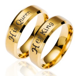 Wholesale gold promise rings for couples - King And Queen Couple Rings Gold Plated Crown Rings For Couples Lovers Forever Love Promise jewelry For Men Women Stainless Steel Ring