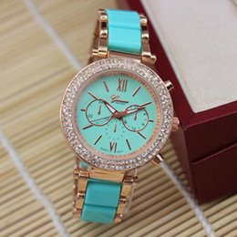 Wholesale Wholesale Double Wrap Watches - 2015 Summer Style Geneva Brand double row crystal dial alloy Acrylic roman style wrap quartz casual wrist watch