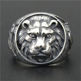 Wholesale Ring Men King - 1pc Free Shipping New Arrival Lion King Ring 316L Stainless Steel Man Boy Fashion Personal Design Cool Animal King Ring