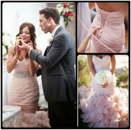 Wholesale Sweetheart Pleated Beaded Ruffle Sweep - 2016 Blush Pink Sweetheart Mermaid Wedding Dresses With Organza Sweep Train Lace Up Plus Size Church Bridal Gowns With Beaded