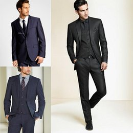 Wholesale Tie Neck Wedding Dress - 2015 New Formal Tuxedos Suits Men Wedding Suit Slim Fit Business Groom Suit Set S-4 XL Dress Suits Tuxedo For Men (Jacket+Pants+Vest+Tie)