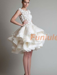 Wholesale Crystal Ball Gowns Wedding Dress - E83 sexy bride romantic white ivory mini short wedding dress ball gown plus size bridal gown gowns vestido de noiva 2017 custom made
